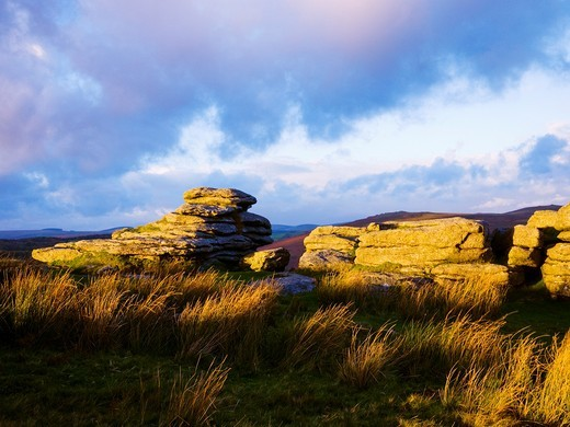 Stock Photo: 1566-581580 Combestone Tor in Dartmoor National Park near Hexworthy, Devon, England
