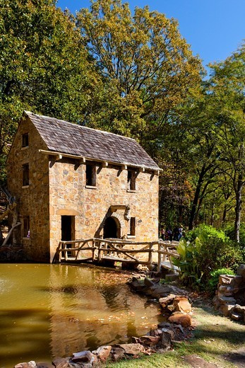 Stock Photo: 1566-581889 A restored grist mill in Old Mill Park in Little Rock, Arkansas, USA