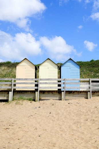 The beach huts at Summerleaze Beach, Bude, Cornwall, England, United Kingdom : Stock Photo