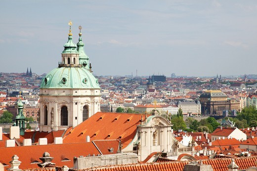 Stock Photo: 1566-582053 Rooftop view from the grounds of Prague Castle with the dome of St  Nicholas Church Chram sv Mikulase, Prague Czech Republic