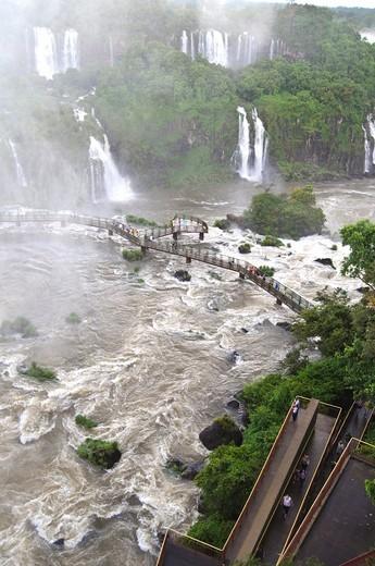 Iguazu waterfalls seen from the Brazilian side : Stock Photo