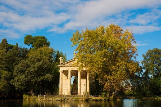 Temple of Aesculapius in Giardino del Lago lake garden Villa Borghese park Rome Italy Europe : Stock Photo