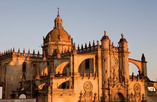 Stock Photo: 1566-582947 Cathedral built 17th century Main facade Jerez de la Frontera  Cádiz province  Spain