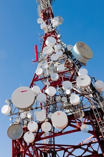 Communication masts and aerials near Mijas, Costa del Sol, Malaga Province, Spain : Stock Photo