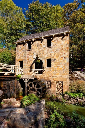 Stock Photo: 1566-583179 A restored grist mill in Old Mill Park in Little Rock, Arkansas, USA