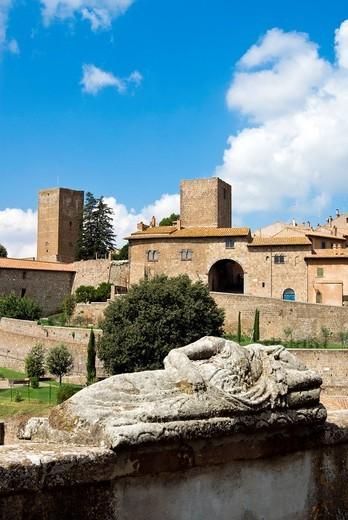 Etruscan sarcophagus, Tuscania, Viterbo Province, Latium, Italy : Stock Photo