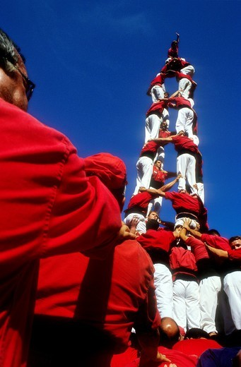 Nens del Vendrell ´Castellers´ building human tower, a Catalan tradition Biannual contest  bullring Tarragona,Catalonia, Spain : Stock Photo
