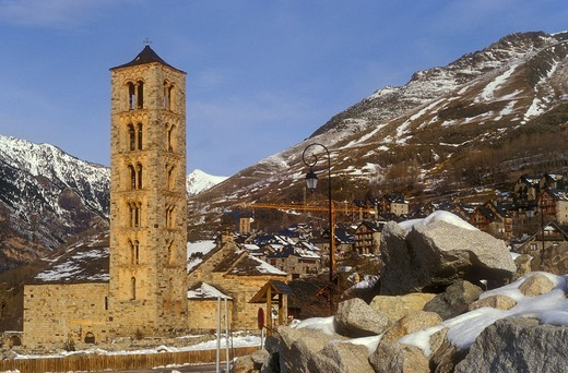 Stock Photo: 1566-583364 Church of Sant Climent Romanesque church  Taüll  Boí valley  Lleida province  Catalonia  Spain