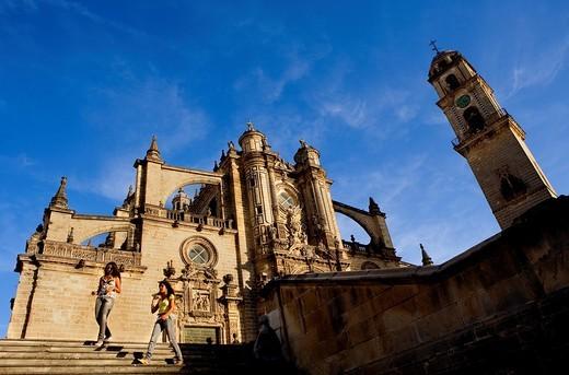 Cathedral built 17th century Main facade Jerez de la Frontera  Cádiz province  Spain : Stock Photo