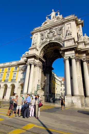 Lisbon, Triumphal arch, Commerce Square, Praça do Comercio, Baixa District, Portugal. : Stock Photo