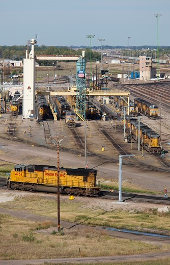 Stock Photo: 1566-585787 North Platte, Nebraska - The sand tower at Union Pacific Railroad´s Bailey Yard, the largest rail yard in the world  The sand tower loads locomotives´ sand tanks  Sand is used for traction when wheels slip  The yard handles 14,000 rail cars every day  The