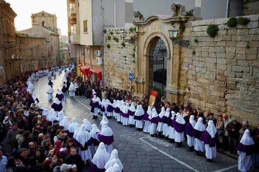 Italy, Sicily, Enna, Procession of Good Friday : Stock Photo