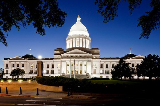 The Arkansas state capitol building illuminted at dusk in Little Rock, Arkansas, USA, : Stock Photo