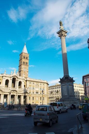 Stock Photo: 1566-586203 Traffic at Piazza Santa Maria Maggiore central Rome Italy Europe