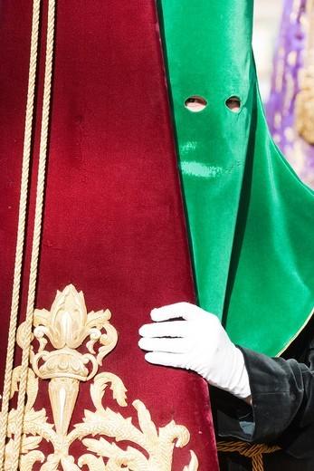 Spain - Nazareno = penitent at the Semana Santa = Holy Week of Málaga  Málaga province, Andalucía, Spain : Stock Photo