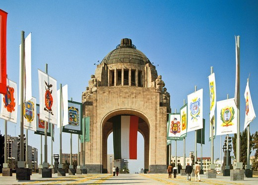 This art-deco monument dedicated to the Mexican Revolution, is in the Plaza de la República, where the Museo Nacional de la Revolución is also located  The building was actually commissioned by dictator Porfirio Díaz, who intended to make it his new legis : Stock Photo