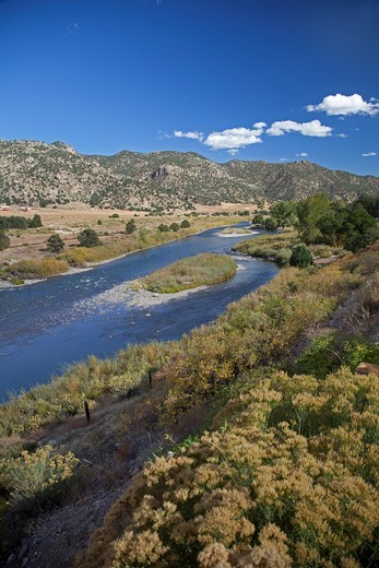 Stock Photo: 1566-587259 Howard, Colorado - The Arkansas River  The artist Christo is planning a public art project called ´Over the River,´ which will suspend heavy fabric over 7 miles the river between Salida and Cañon City
