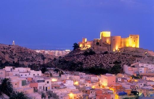 Alcazaba and neighborhood of la Chanca  Almeria  Andalucia, Spain : Stock Photo