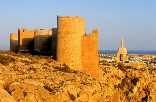 Stock Photo: 1566-588405 Fortified Wall Muralla de Jayran At right lookout of San Cristobal  Almeria  Andalucia  Spain