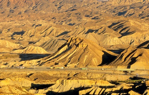 Road A-92 in Desert of Tabernas, the only real desert of Europe, Spain : Stock Photo