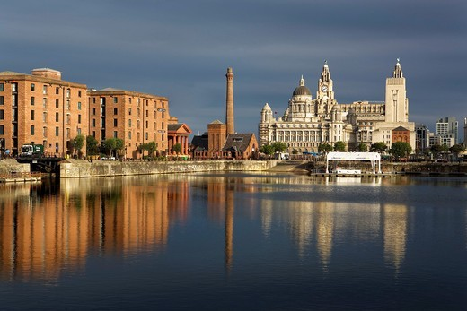 Stock Photo: 1566-588450 Salthouse Dock  To the right the three graces of Pier Head the Royal Liver Building, The Cunard Building and the Port of Liverpool Building  To the left Albert Dock Buildings Liverpool  England  UK