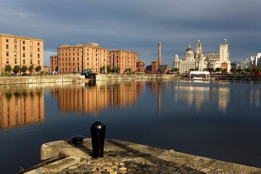 Stock Photo: 1566-588452 Salthouse Dock  To the right the three graces of Pier Head the Royal Liver Building, The Cunard Building and the Port of Liverpool Building  To the left Albert Dock Buildings Liverpool  England  UK