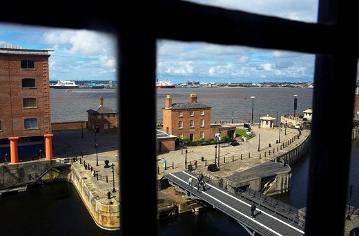 Stock Photo: 1566-588453 Albert Dock and Mersey river Liverpool  England  UK