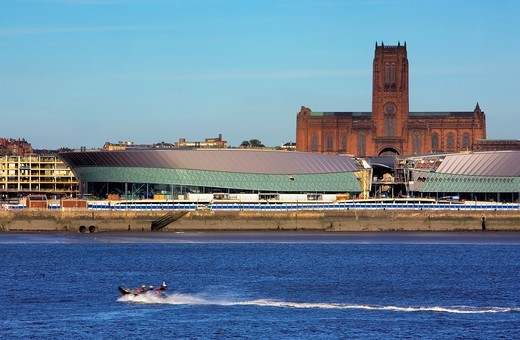 Stock Photo: 1566-588463 Skyline of the City, as seen from Mersey river  Liverpool Anglican cathedral and The Echo Arena Convention Centre Liverpool  England  UK