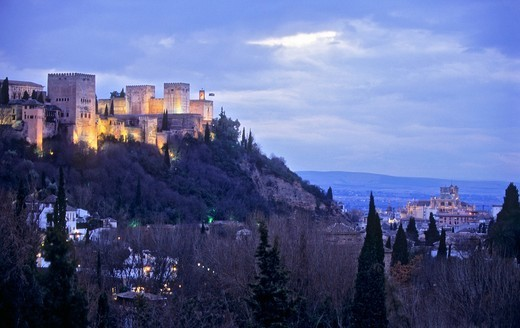 Stock Photo: 1566-588515 Alhambra and cathedral, as seen from Sacromonte troglodyte quarter Gipsy quarter, Granada, Andalusia, Spain, Europe