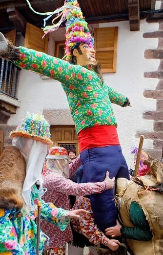 Stock Photo: 1566-588525 Miel Otxin, Txatxos and Ziripot  Lantz carnival  Navarra  Spain