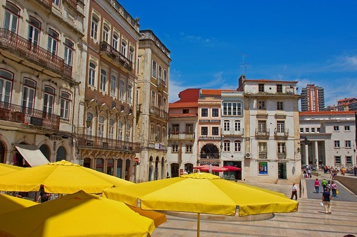 Coimbra, 8 de Maio Square, Praça 8 de Maio, Old town, Beira Litoral, Portugal, Europe. : Stock Photo