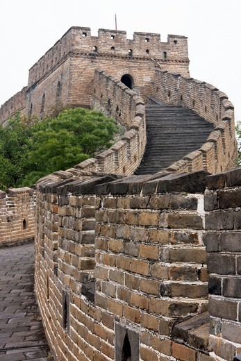 Stock Photo: 1566-589466 A guard post on the Great Wall near Beijing, China