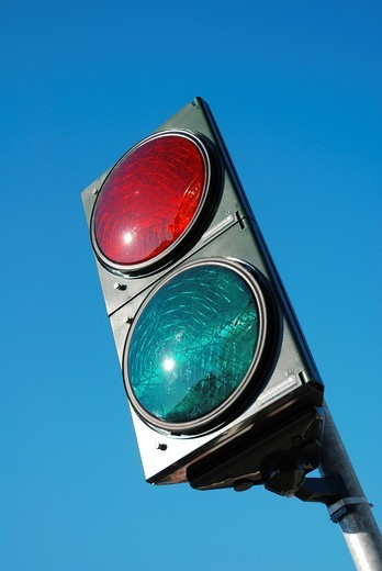 Traffic lights with the colors red and green : Stock Photo