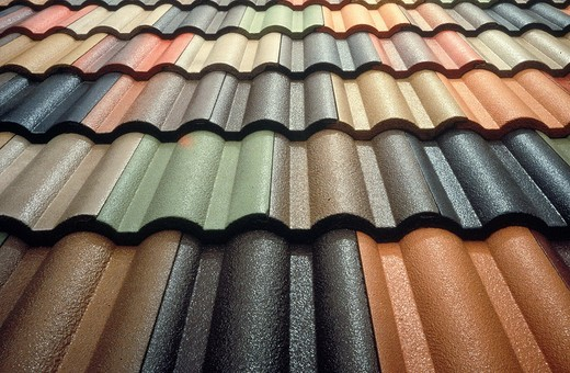 tiled roof showing the shape,color and texture of the tiles : Stock Photo