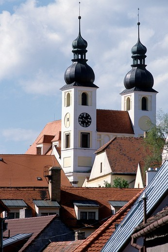 Stock Photo: 1566-592120 Czech Republic, Telc, Holy Name of Jesus Church,