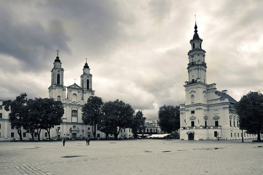 Lithuania, Central Lithuania, Kaunas, Town Hall square, St  Francis Church and Palace of Weddings : Stock Photo