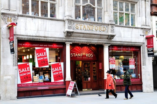 Stanfords Map and Travel Bookshop, Long Acre, Covent Garden, London, England, UK : Stock Photo