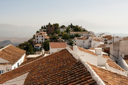 View across the rooftops of Comares in Spain : Stock Photo