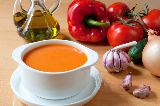 Stock Photo: 1566-594231 Gazpacho andaluz and ingredients  Andalucía, Spain