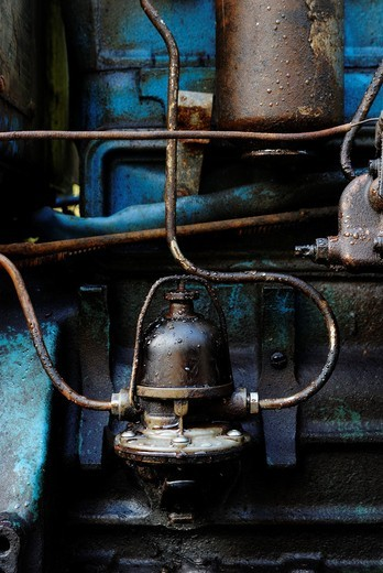 Stock Photo: 1566-594246 Fordson major vintage tractor fuel system - lift pump and sedimentor