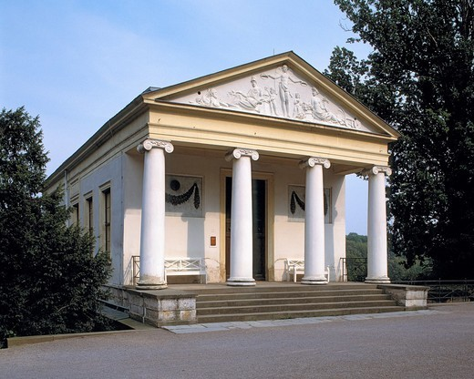 Stock Photo: 1566-594407 Germany, Weimar, Ilm, Thueringer Becken, Thuringia, Park an der Ilm, Ilm Park, Roman House, summerhouse, classicism, temple architecture, pillars, portico, Anchient World, Klassik Stiftung Weimar, UNESCO World Heritage Site