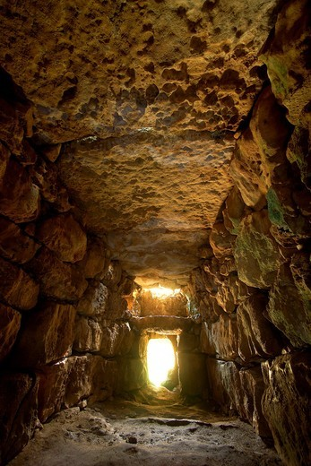 South Naveta Archaeological burial chamber of Rafal Rubi Menorca Biosphere Reserve Balearic Islands Spain : Stock Photo