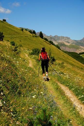 Valle de Tena walker Huesca Pyrenees Pyrenees Mountains Spain : Stock Photo