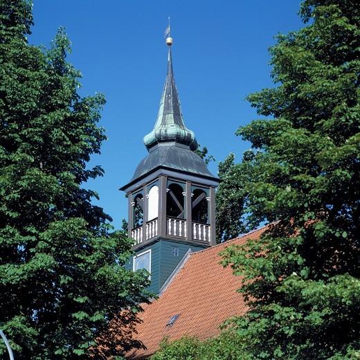 Stock Photo: 1566-595043 Germany, Ploen, nature reserve Holsteinische Schweiz, Schleswig-Holstein, Johannis Church, half-timbered church, bell tower, evangelic church