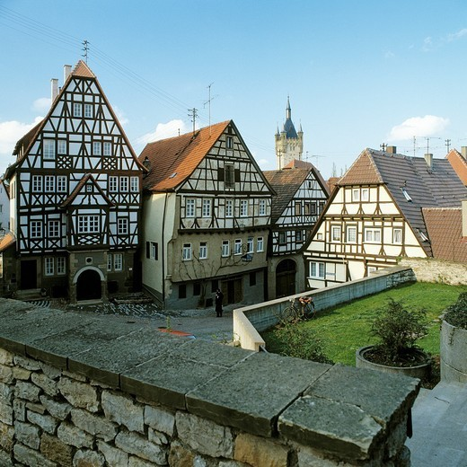 Stock Photo: 1566-595597 Germany, Bad Wimpfen, Neckar, Neckar valley, Kraichgau, Baden-Wuerttemberg, old city, half-timbered houses, residential buildings, Blue Tower, town tower, natural stone wall