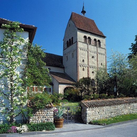 Germany, Reichenau, Islet, Lake Constance, Baden-Wuerttemberg, D-Reichenau-Mittelzell, monastery, benedictine monastery, monastery church, imperial abbey, Middle Ages, UNESCO World Heritage Site : Stock Photo