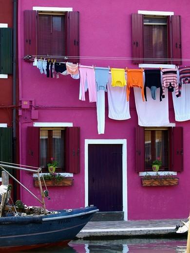 Island of Burano Venice Veneto Italy : Stock Photo