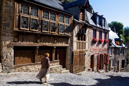 Stock Photo: 1566-596351 Typical houses in the Rue du Petit Fort  Old town of Dinan, in Cotes d´Armor department, Brittany  France