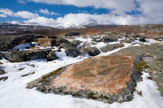 Overview of Sierra de Francia in winter, Biosphere Reserve of Sierra de Béjar and Francia, San Martín del Castañar, Salamanca province : Stock Photo