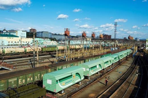 Russia, Siberia, Buryatia Republic, Oulan Oude, Trans-siberian railway station : Stock Photo